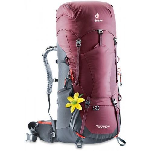 Женский рюкзак Deuter Aircontact Lite 60+10 SL (модель 2018), цвет maron-graphite, для продолжительных горных походов