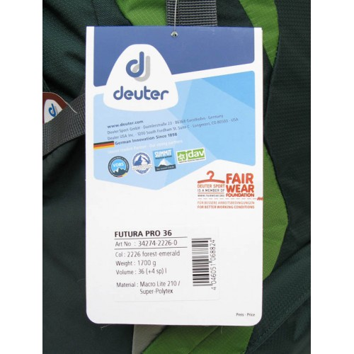 Туристический рюкзак Deuter Futura Pro 36, цвет forest emerald, штурмовой рюкзак, рюкзак для альпинизма