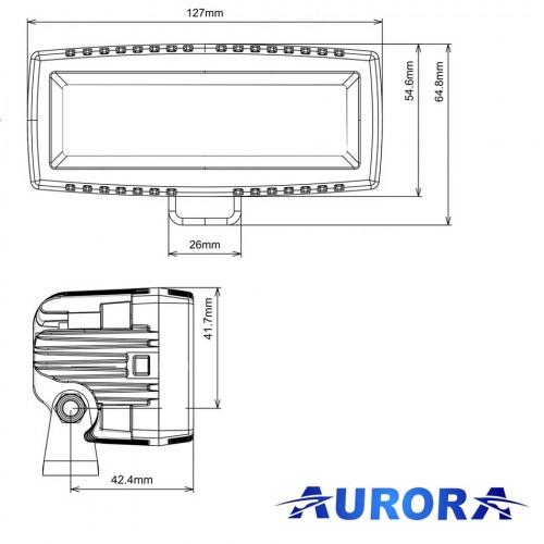 Фара ближнего света, AURORA ALO-L-4-E7J, длина 13 см, 20W, Угол света 25°