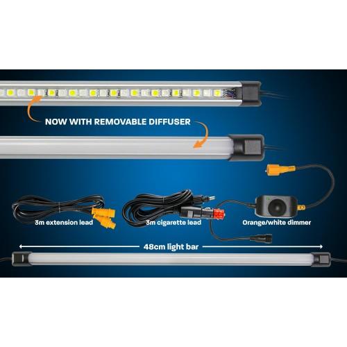 48cm панель ORANGE/WHITE LED LIGHT BAR, в комплекте диммер и кабель 12вольт, RBWTOR48CIGD