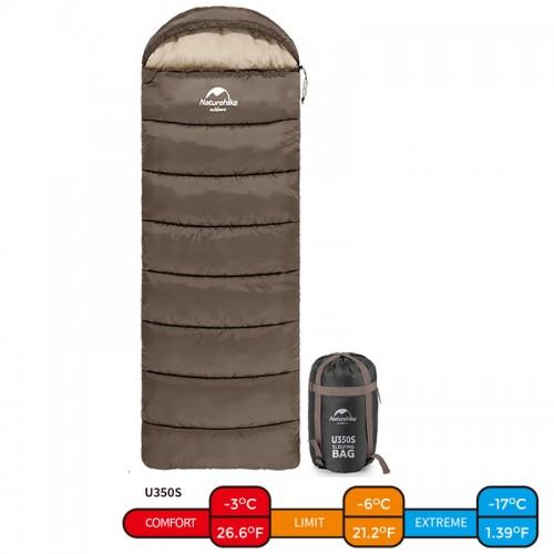 Спальный мешок конверт Naturehike U350S, -3°C, цвет хаки, NH15S009-D, NH20MSD07, вес 1.7кг