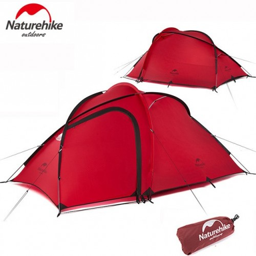 Трекинговая палатка Naturehike Hiby (2-3-местная) 20D silicone, NH18K240-P, цвет красный, updated, вес 2.6 кг