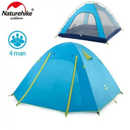 Палатка четырехместная, NatureHike NH18Z044-P, P Series, цвет голубой, вес 2.6кг