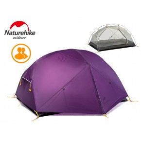 Двухместная палатка NatureHike Mongar 2 Ultralight, 20D, цвет purple, вес 2,1кг
