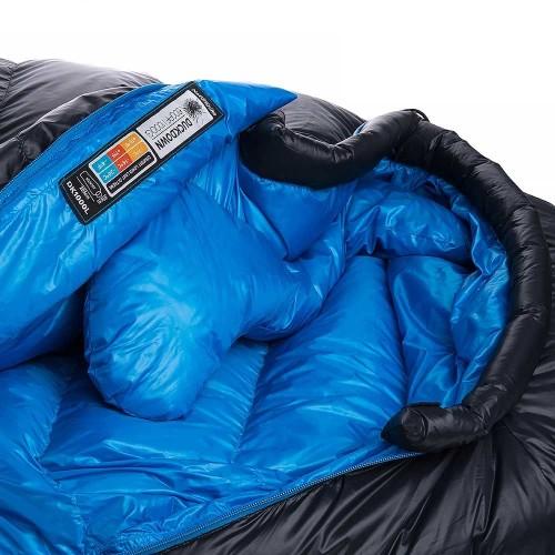 Пуховой спальник Naturehike NH01 1000g пух, NH15D800-K, черный, -12°C -18°C, вес 1,53кг.
