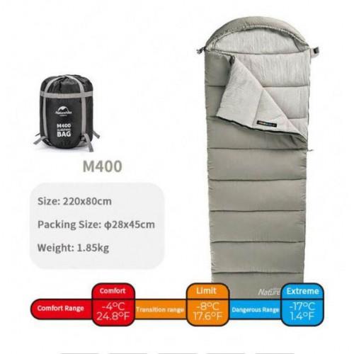 Спальный мешок конверт Naturehike M400,+1, -4°C, NH20MSD02, вес 1.85кг