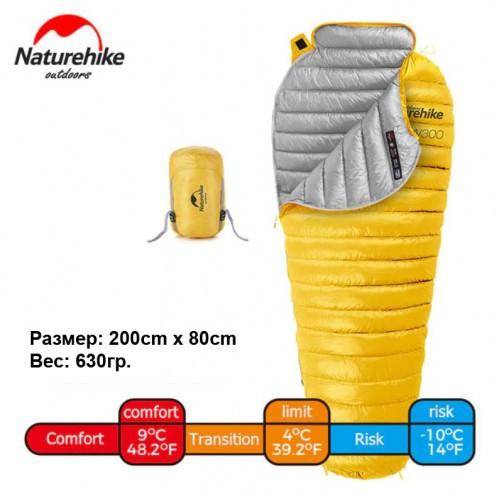 Пуховый спальник Naturehike CW300 NH18S300-D, желтый, +9°C+4°C, вес 630гр.