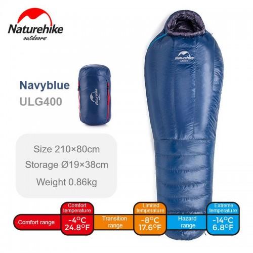 Пуховый спальник Naturehike ULG400, NH19YD001, цвет blue, -4°C -8°C, вес 880гр.