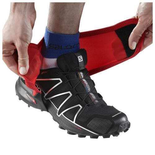 Фонарики Salomon Trail Gaiters Low, цвет черный красный, размер L, гетры спортивные