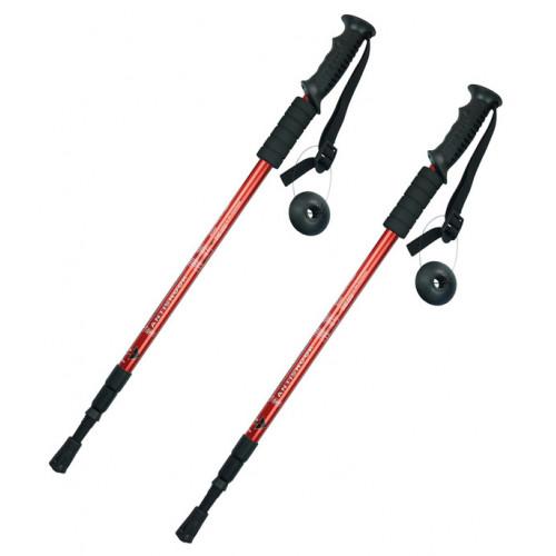 Альпенштоки, HIGHTREK, цвет красный, длина 65-135 см (пара), треккинговые палки