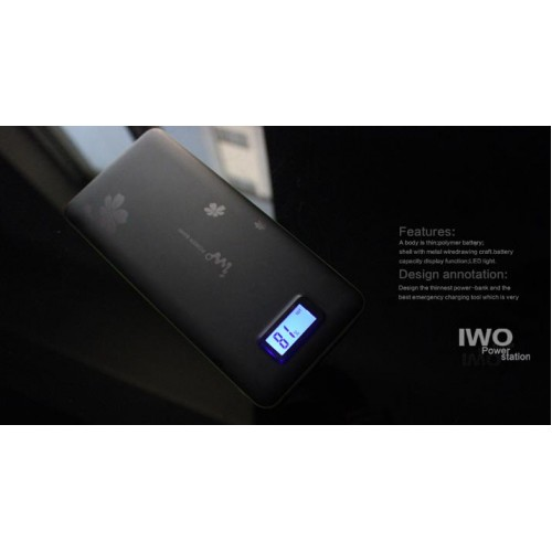 IWO P42 power bank 13200mah, цвет черный, переносная зарядка для смартфонов