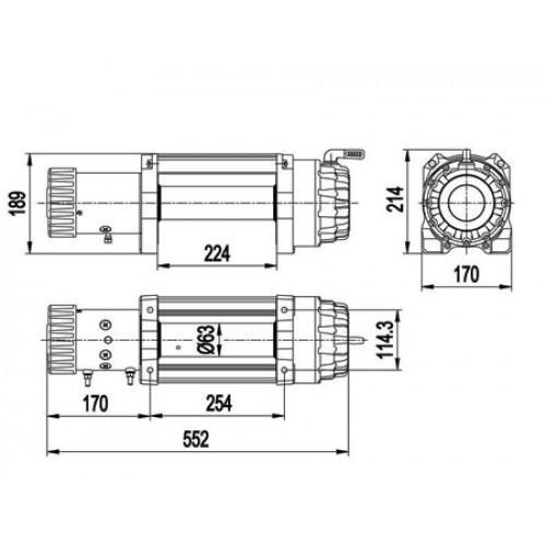 Лебедка автомобильная Master Winch ZHME E12500 12V (Стократ), Лебедка Герметичная, трос кевлар