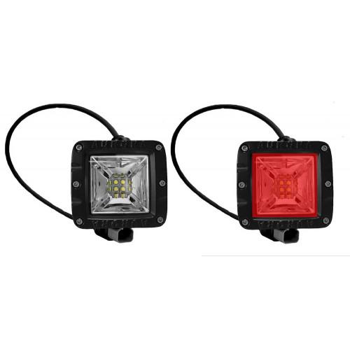 Аврора фара рабочего света (Белый + Красный), ALO-2-E12KR, с проводкой, Официальная ГАРАНТИЯ 2 года