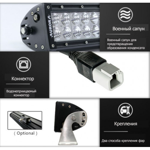 AURORA двухрядная фара, 100W 35 см, ALO-10-P4E4J, Фары Аврора, aurora led lights, AURORA led, off road led, гарантия 2г.