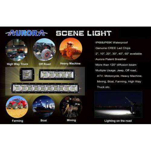 AURORA Scene, ALO-20-E12J, фара панорамного света, 200W, Угол света 120°.