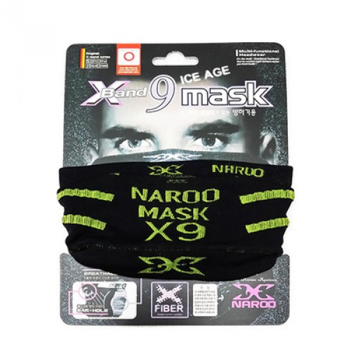 Бандана Naroo (бафф) X-band 9 mask Ice Age, цвет черный, зеленая надпись