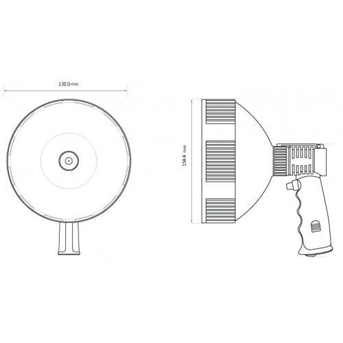Ручной фонарь для Охоты, прожектор для охраны объекта, диаметр 150мм, дальность 350м, 1200 Lumens