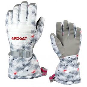 Женские перчатки Spyder цвет белый и голубой, размер M