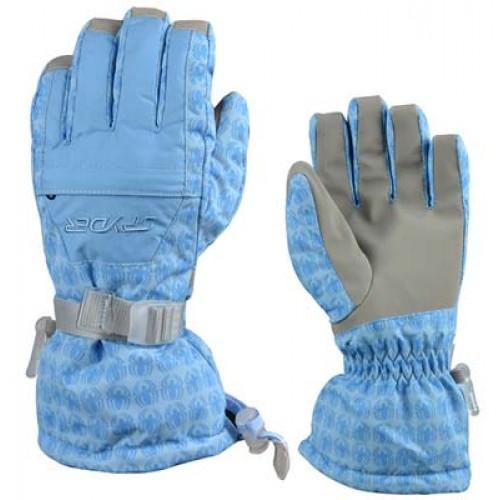 Женские горнолыжные перчатки Spyder, цвет белый и голубой, размер M