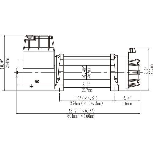 Герметичная IP67 Лебедка Runva EWB 12500 lbs USR синтетический трос (влагозащищенная) 12V
